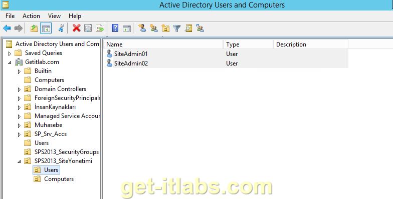 SharePoint 2013 Site İzinleri (Site Permissions) Yapılandırma-2/Active Directory İşlemleri