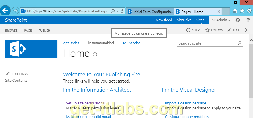SharePoint 2013 Site İzinleri (Site Permissions) Yapılandırma-3/Alt Site(Sub site) Oluşturma ve Navigasyon (Navigation Bar) Ayarları
