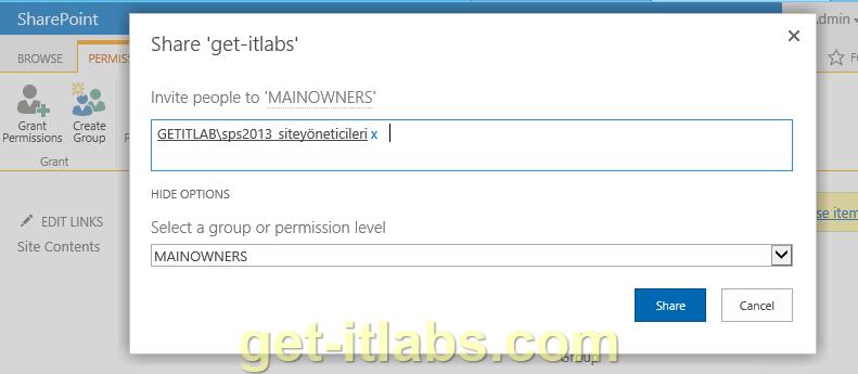 SharePoint 2013 Site İzinleri (Site Permissions) Yapılandırma-4/ Sitelerde İzin (Site Permissions) Ayarları