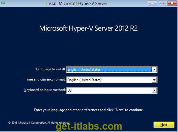 Hyper-V Server 2012 R2 Kurulumu