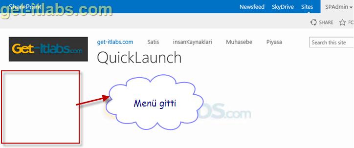 Sharepoint Sayfanızda Quick Launch Menüsünü Gizleme