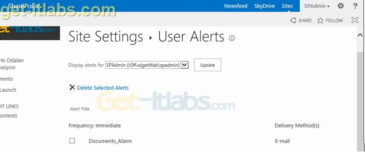 Sharepoint Liste ve Kitaplıklarında (Library) Alarm Oluşturma