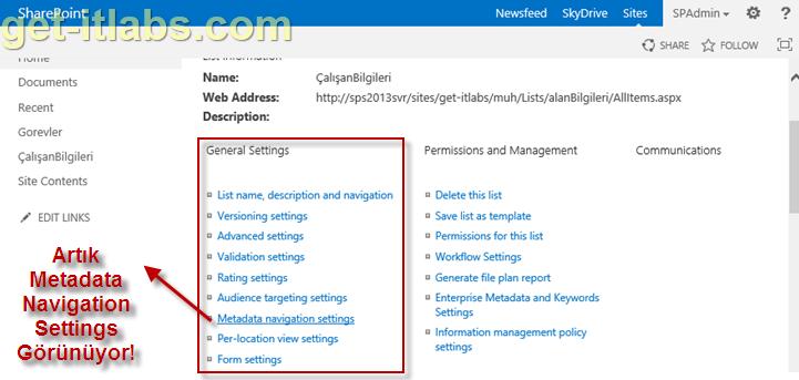 SharePoint Liste ve Kitaplıklarında Metadata Navigation ile Filtreleme-1
