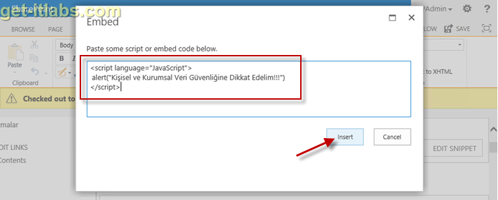SharePoint 2013 Script Editor İle JavaScript Yazalım