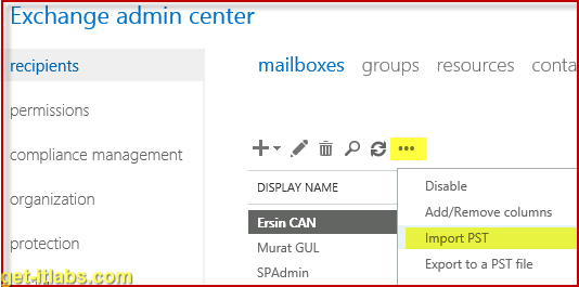 Exchange Server 2013 Mailbox Import