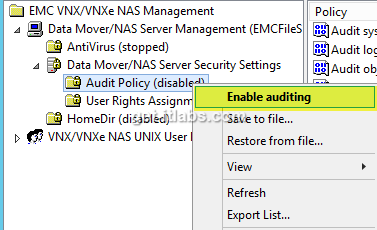 EMC VNX Audit Policy