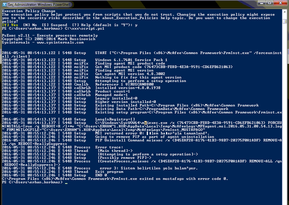 Powershell ile McAfee Agent Uninstall